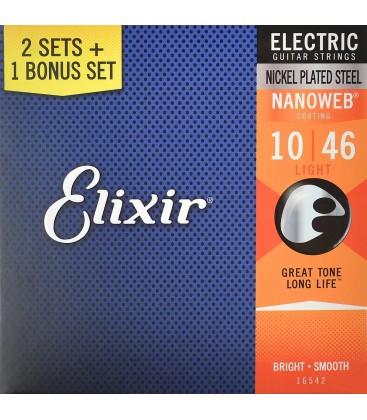 Struny do gitary elektrycznej Elixir Nanoweb 10-46 3Pack 3 komplety 16542